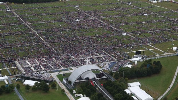 An aerial view of the crowd at Phoenix Park as Pope Francis attends the closing Mass at the World Meeting of Families, as part of his visit to Ireland, on Sunday. Photograph: Getty
