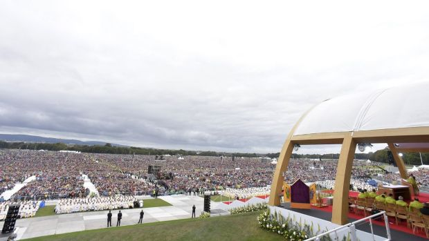 Pope Francis leads the Mass at Phoenix Park in Dublin. Photograph: AFP