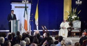 A changed Ireland: Pope Francis  listening to the speech of Taoiseach Leo Varadkar. Photograph: EPA/Vatican Press Office