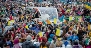 Pope Francis arrives at the Phoenix Park to celebrate mass. Photograph: Will Oliver/EPA