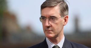 "Jacob Rees-Mogg  is seen on video footage   suggesting the government could ""keep an eye on"" the border. File photograph: Simon Dawson/Reuters"