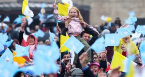 Some of the crowd who gathered in Knock. Photograph: EPA/WMOF2018/Maxwell Photography