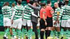 Celtic manager Brendan Rodgers gives goalscorer Dedryck Boyata. Photograph: PA