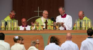 Pope Francis during the Mass at the Phoenix Park. Photograph: Colin Keegan/Collins Dublin