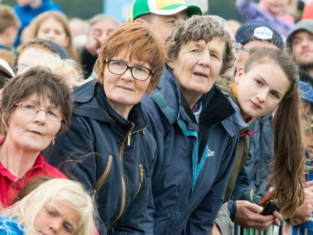 Crowds waiting to see the holy father Pope Francis in the Phoenix Park.