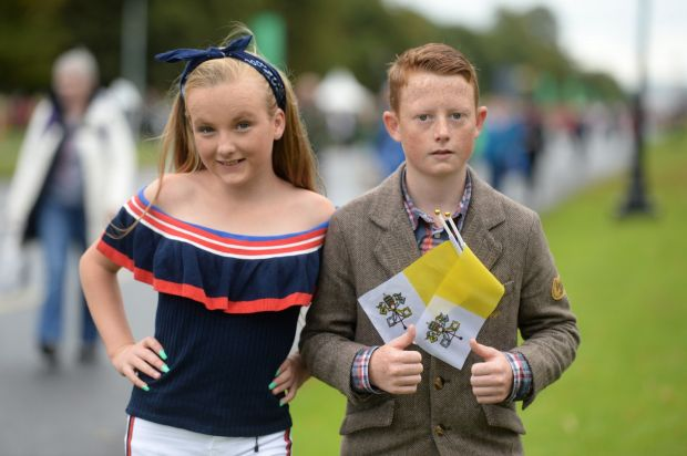 Kathleen and Connie O'Ryan, from Limerick, attending the WMOF2018 closing Mass, at the Phoenix Park. Photograph: Dara Mac Donaill/The Irish Times