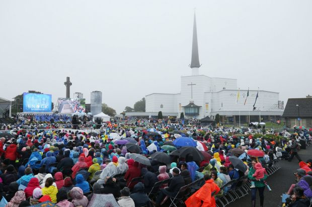 Pilgrims arrive at Knock Holy Shrine, Co Mayo, where Pope Francis viewed the Apparition Chapel and gave the Angelus address. Photograph: Niall Carson/PA Wire