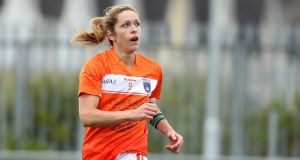 Armagh's Caroline O'Hanlon scored 5-2 in the opening half and 7-4 overall for her club. Photograph: Oisin Keniry/Inpho
