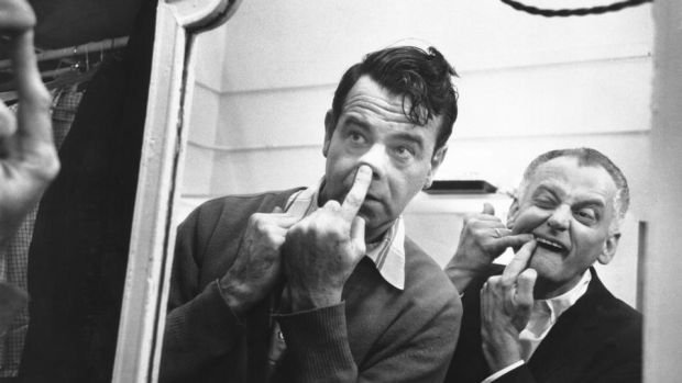 The Odd Couple: Walter Matthau and Art Carney backstage at the Plymouth Theatre, on Broadway, in 1965, when they were starring in Neil Simon's play. Photograph: Sam Falk/New York Times