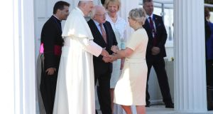 Pope Francis  shakes hands with Minister for Children Katherine Zappone at Áras an Uachtaráin in  Dublin. Photograph:  Danny Lawson/PA Wire.