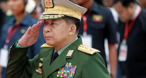 Myanmar's commander in chief, senior general Min Aung Hlaing: singled out, along with other senior military figures, for investigation and prosecution for genocide and crimes against humanity. Photograph: Ann Wang/Reuters