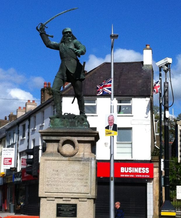 The statue of john Nicholson in Lisburn's Market Square was erected in 1922 on the centenary of his birth