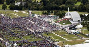 An aerial view of the crowd at Phoenix Park in Dublin as Pope Francis attended the closing Mass at the World Meeting of Families. Photograph: Liam McBurney-Pool/Getty Images.
