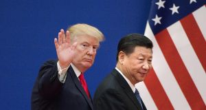 US president Donald Trump and his Chinese counterpart Xi Jinping during Trump's visit to Beijing in September 2017. The Trump administration's maximal demands that China must stop technology transfer, cease manipulating its currency and balance its trade with the US arise from a zero sum view effectively requiring China to reverse its huge modernisation programme. Photograph: Nicolas Asfouri/AFP/Getty Images