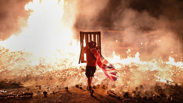 A Loyalist bonfire In the Sandy Row area of Belfast. Photograph: Jeff J Mitchell/Getty Images