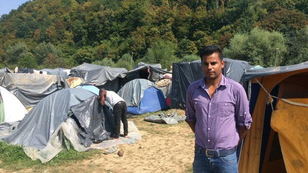 Muhammad Yasir (27), a cameraman and reporter from Faisalabad in Pakistan, is one of hundreds of migrants living in a squalid camp at Velika Kladusa, on Bosnia's border with Croatia. Photograph: Daniel McLaughlin
