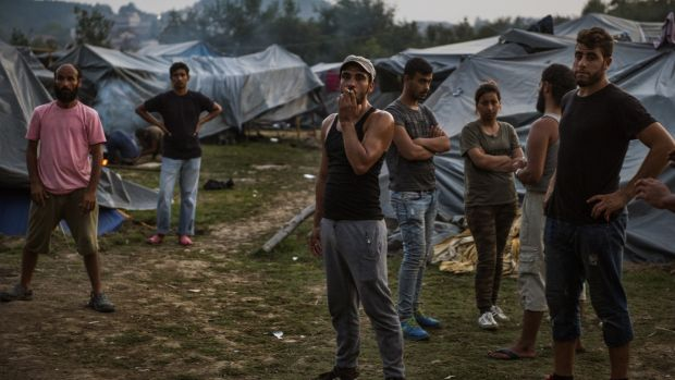 Syrian refugees at Velika Kladusa refugee camp in Bosnia earlier in August 2018. Photograph: Attila Husejnow/SOPA Images/LightRocket via Getty Images