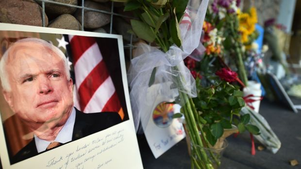 A makeshift memorial to US senator John McCain, who died on Saturday night. Photograph: Robyn Beck / AFP