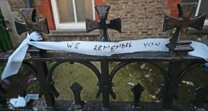 Messages left on the railings at the site of a former Magdalene laundry on Dublin's Sean McDermott street. Photograph: Niall Carson/PA Wire