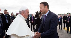 Pope Francis shakes hands with  Taoiseach Leo Varadkar as he prepares to leave after his visit to Ireland, on Sunday. Photograph: Maxwells via Getty Images