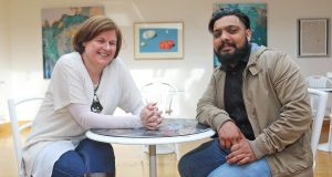Vekash Khokar with Mona Considine, general manager of the Backstage Theatre, Longford. Photograph: Lorraine Teevan
