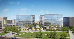 CGI of the new Dublin Airport Central development. Kellogg's new HQ will be in the Three building on the left.