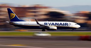 A Ryanair aircraft lands at Ciampino Airport in Rome. Photograph: Tony Gentile/Reuters