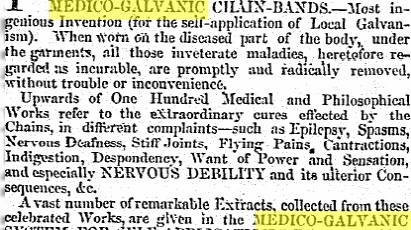 An advertisement in this newspaper in 1859 for Pulvermacher's Patent Medico-Galvanic Chain Bands.