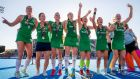 Ireland players celebrate with their silver medals after thei World Cup final loss to the Netherlands. Photo: Morgan Treacy/Inpho