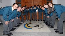 Seven sets of twins -  Harry and Luke Chambers, Sarah and Scott Finn, Alanna and Megan O'Flynn, Mark and David Evans, Nathan and Cephora Kumpaya, Holly and Hannah O'Mahony, Robert and Adam Dyczewski - started  secondary school at  Glanmire Community College on Tuesday.  Photograph: Jim Coughlan.