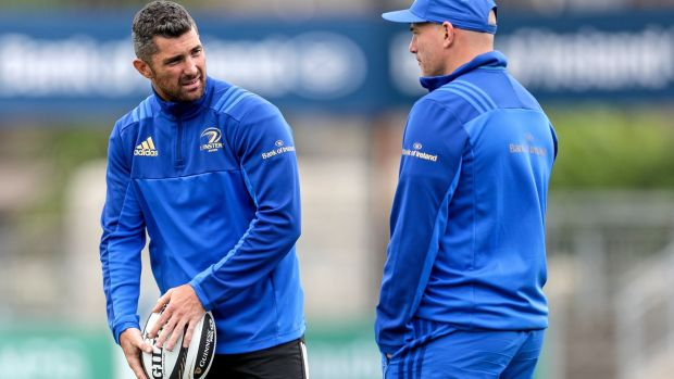 Rob Kearney and backs coach Felipe Contepomi during Leinster pre-season training. Photograph: Laszlo Geczo/Inpho