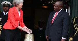 UK prime minister Theresa May meets South African president Cyril Ramaphosa. Photograph: Mike Hutchings/EPA