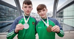 Jude Gallagher and Dean Clancy (left) with their European medals back in April. Photograph: Ryan Byrne/Inpho