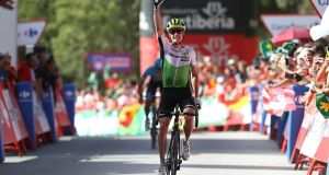 Benjamin King after winning stage four from Velez-Malaga to Alfacar. Photograph: Michael Steele/Getty Images