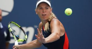 Denmark's Caroline Wozniacki on her way to defeating Samantha Stosur of Australia. Photograph: Timothy A Clary/AFP/Getty Images
