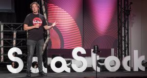 SaaStock chief executive and co-founder Alex Theuma onstage at last year's event. Photograph: Dan Taylor