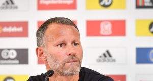 Wales manager Ryan Giggs during his press conference at St Fagans Museum of Welsh History, Cardiff. Photo: Ben Birchall/PA Wire