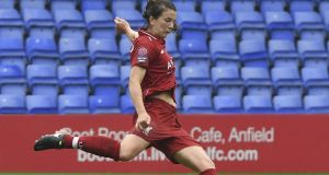 Liverpool's  Niamh Fahey in action against Manchester United during the Continental Cup game at Prenton Park. Photograph: Nick Taylor/Liverpool FC/Liverpool FC via ---Getty Images