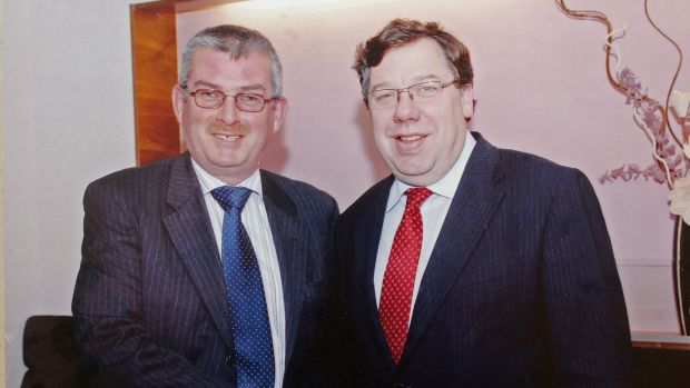 Hugh Morgan of Morgan Fuels and the then taoiseach Brian Cowen at a Fianna Fáil fundraiser in July 2008. Photograph: Alan Betson