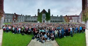 NUI Galway first years gather in the Quad for a group photograph some years ago. Photograph:  Patrick HeneghanNUIG