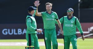Ireland's Tim Murtagh celebrates after dismissing Gulbadin Naib of Afghanistan during their one day international in Belfast. Photo: Rowland White/Inpho