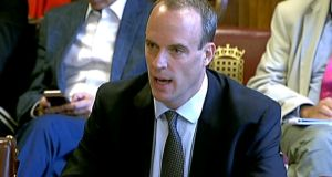 "Britain's Brexit secretary Dominic Raab at the parliamentary committee on Wednesday. ""You have a unionist parliament as well as a Conservative and unionist government,"" he said.  Photograph: AFP/Getty Images"