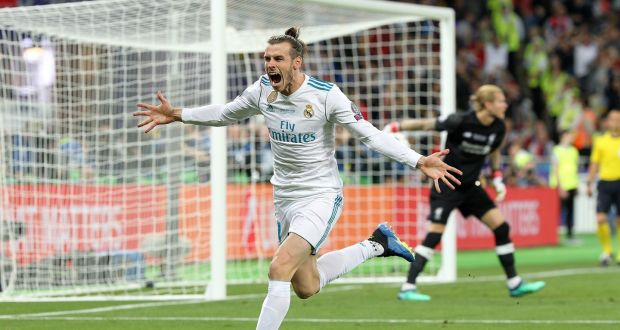 09da48e28 Gareth Bale of Real Madrid celebrates scoring a goal against Liverpool  during last year s Champions League