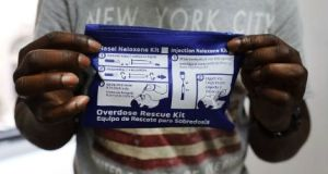 An overdose rescue kit featuring nasal spray and injectable Naloxone at a demonstration in New York. File photograph: Getty Images