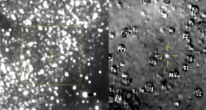 Two images taken by Nasa's New Horizons spacecraft showing 2014 MU69, an object in the Kuiper Belt. The right view is a close-up of the area outlined in yellow at left, with 2014 MU69 in the crosshairs. Photograph: Nasa/Johns Hopkins University Applied Physics Laboratory/Southwest Research Institute