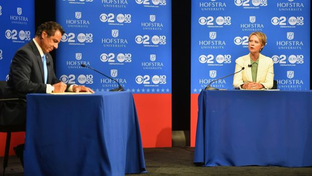 Andrew Cuomo and Nixon clashed in a heated debate where the candidates discussed standing up to President Donald Trump. Photograph:J. Conrad Williams Jr/NYT