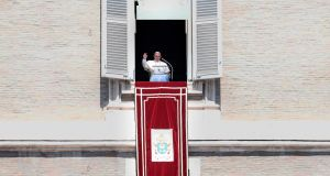 Pope Francis waves as he arrives to deliver a speech to the faithful, prior to the Angelus prayer, on August 19, 2018 at St. Peter's square in the Vatican. (Photo by Filippo MONTEFORTE / AFP)FILIPPO MONTEFORTE/AFP/Getty Images