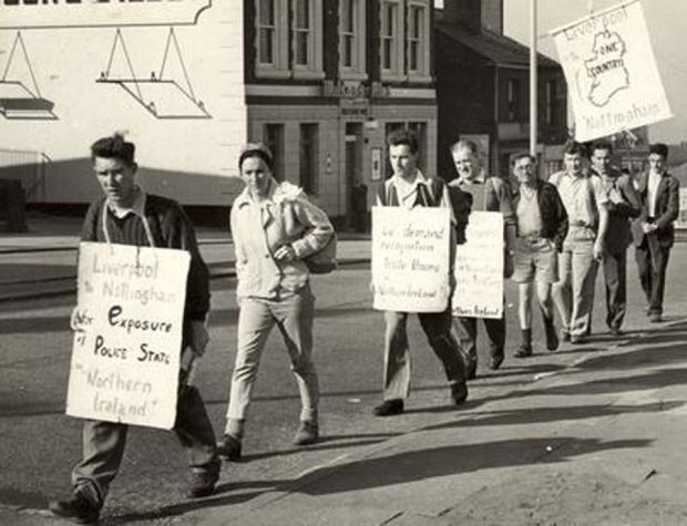 A Northern Ireland Civil Rights Association demonstration in England in the 1960s
