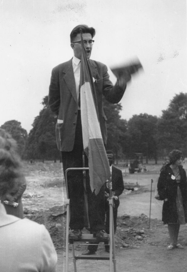 Anthony Coughlan at Speakers' Corner in Hyde Park, London in the 1950s