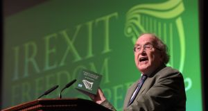 Prof Anthony Coughlan speaks at the   Europe of Freedom and Democracy conference in the RDS this year.  Photograph: Bryan Meade
